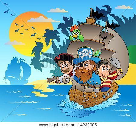 Três piratas no barco perto de ilha