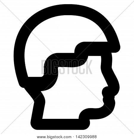 Sergeant Head vector icon. Style is stroke flat icon symbol, black color, white background.
