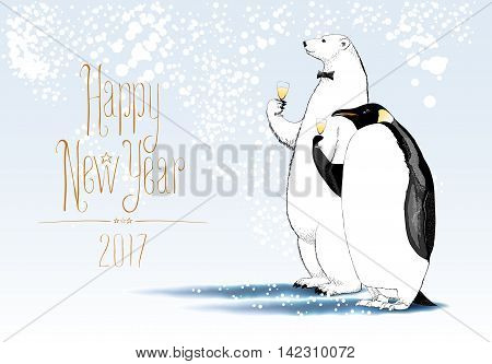 Happy New Year 2017 vector seasonal greeting card. Penguin polar bear characters drinking glass of champagne funny illustration. Design element with Happy New Year hand drawn text