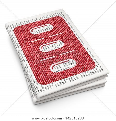 Medicine concept: Pixelated red Pills Blister icon on Newspaper background, 3D rendering