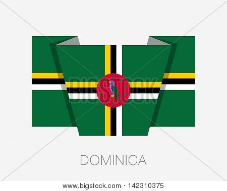 Flag Of Dominica. Flat Icon Wavering Flag With Country Name