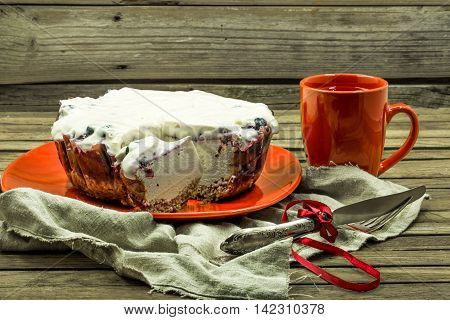 Christmas, Red Cup With Coffee And Dessert On Wooden Background