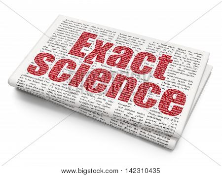 Science concept: Pixelated red text Exact Science on Newspaper background, 3D rendering