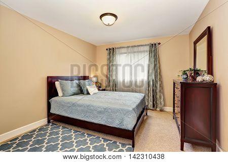 Nice Bathroom In Blue Tones With Burgundy Furniture Set