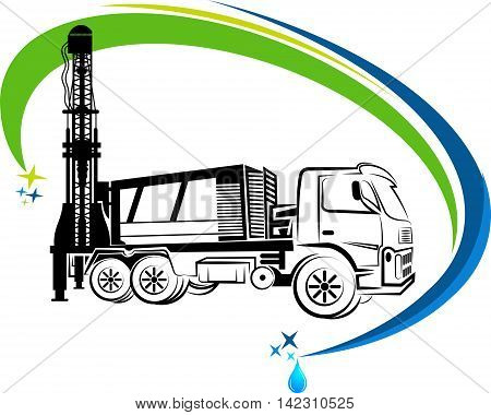 well drilling truck logo with isolated background