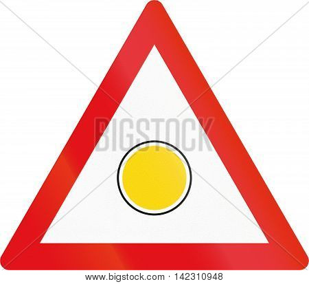 Road Sign Used In The African Country Of Botswana - Emergency Flashing Light Sign