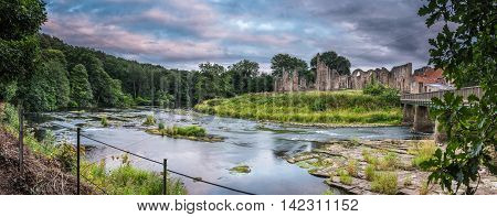 Panorama of River Wear and Finchale Priory, as it flows past the medieval ruin, in County Durham