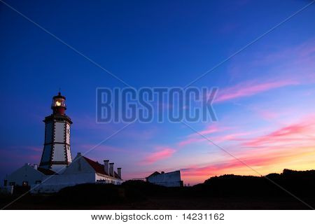 Cape Espichel Lighthouse At Dusk