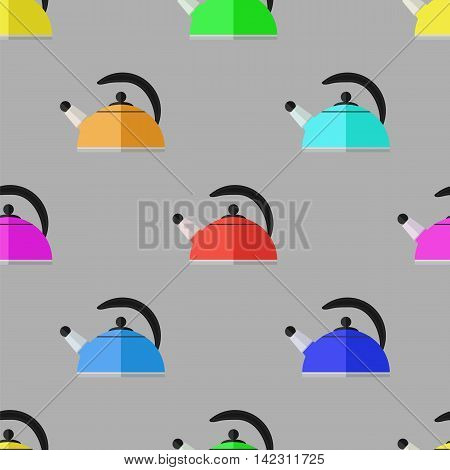 Kitchen Colorful Kettle Seamless Pattern on Grey Background