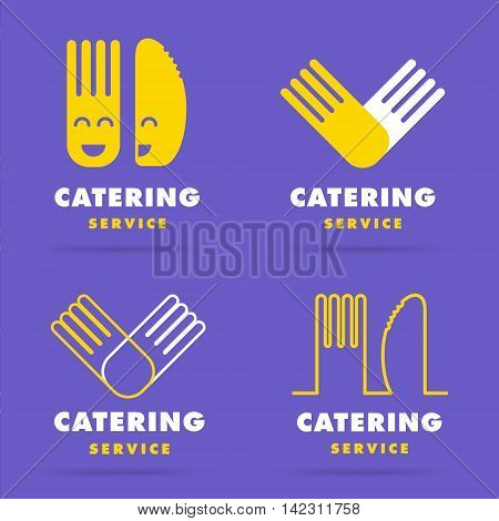 Trendy modern smooth line catering logo. Set of restaurant cooking serving and food delivery service logotypes