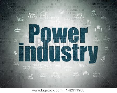 Industry concept: Painted blue text Power Industry on Digital Data Paper background with  Hand Drawn Industry Icons