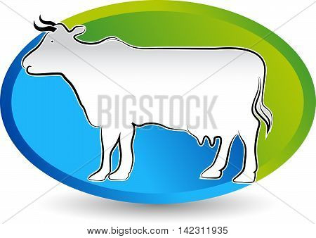 Illustration art of a cattle logo design with isolated background