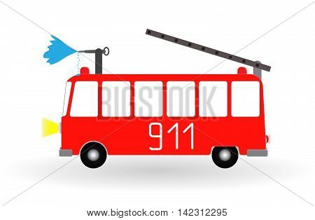 Painted Cartoon Fire Engine Red with Ladder and Water Jet. Vector Illustration. EPS10