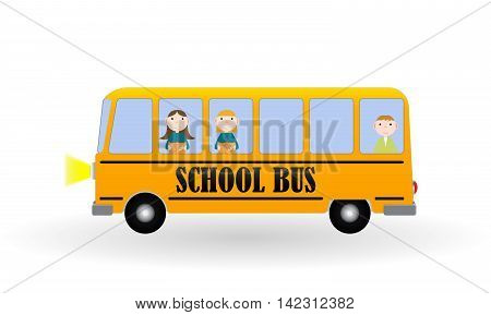 Back to School Background with Yellow Bus and Children. Vector Illustration. EPS10