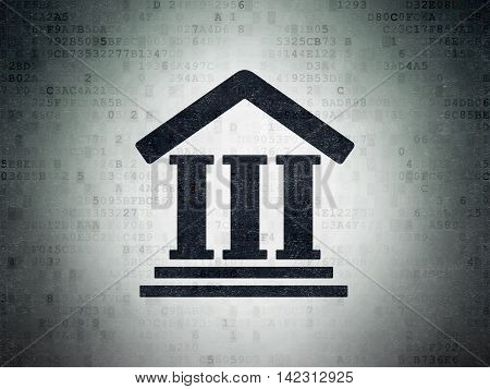 Law concept: Painted black Courthouse icon on Digital Data Paper background