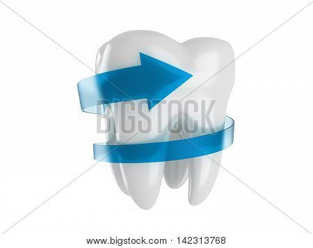 Healthy tooth with a blue arrow. 3d illustration