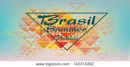Brasil summer holiday card with triangles over pastel colored background in outlines. Digital vector image