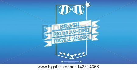 Brasil tropical paradise card with crown and sunglasses over blue background in outlines. Digital vector image