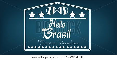 Hello Brasil card with stars and sunglasses over dark blue background in outlines. Digital vector image