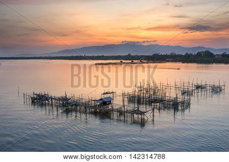 fisherman village at Laem Sing Chanthaburi in the morning