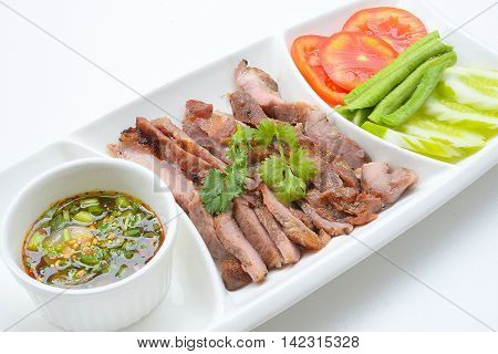 charcoal-boiled pork neck,Grill pork (Thai style food)