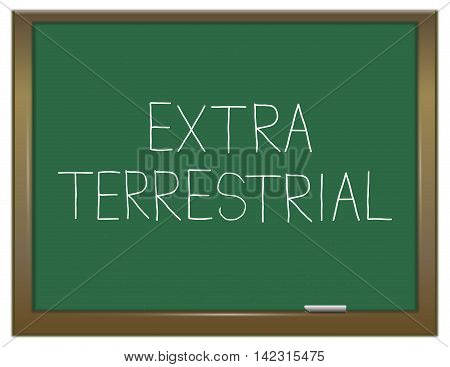 Illustration depicting a green chalkboard with an extra terrestrial concept.