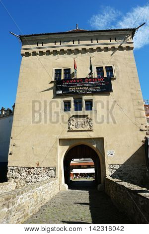 KEZMAROK SLOVAKIA - JULY 08 2016: The old tower with entrance gate in Kezmarok castle High Tatras Slovakia.
