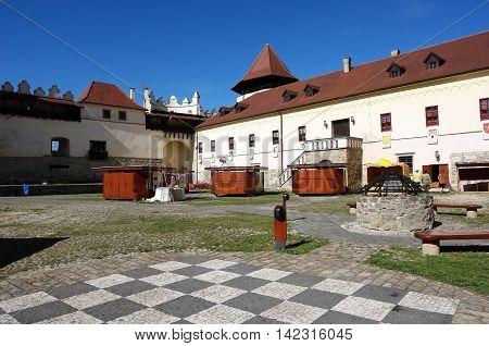 KEZMAROK SLOVAKIA - JULY 08 2016: The big yard of old castle in Kezmarok town High Tatras Slovakia.