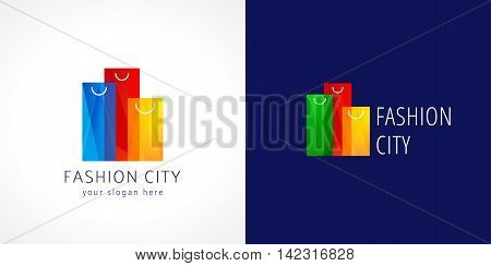 Fashion city logo. Template logo for the shopping center in the shape of high-rise buildings of colorful shopping bags. Online fashion store sign, shop symbol. Set of colored sopping packages.
