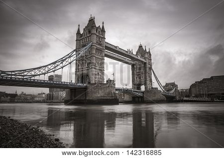 The iconic Tower Bridge in the morning - vintage version - London, UK