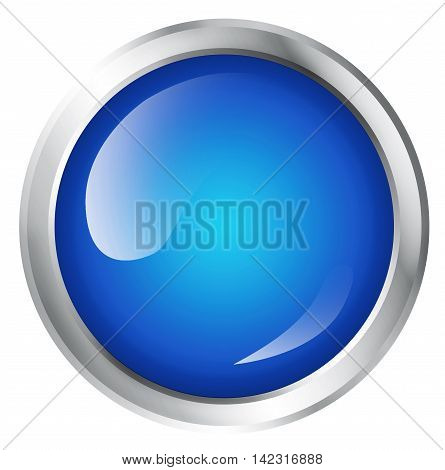 Blank, glossy icon or button with copy space. 3D illustration