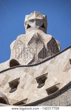 Closeup Of Casa Mila In Barcelona
