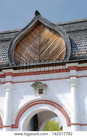 Old architecture of Kolomenskoye park in Moscow Russia. Popular landmark.
