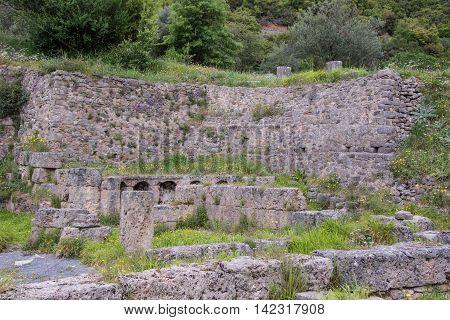 View of ancient baths near Lousios river Greece.