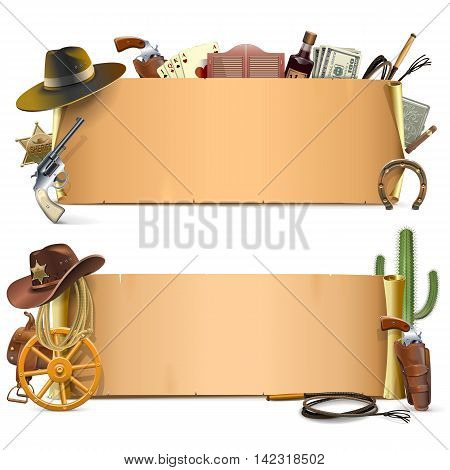 Vector Cowboy Scrolls isolated on white background