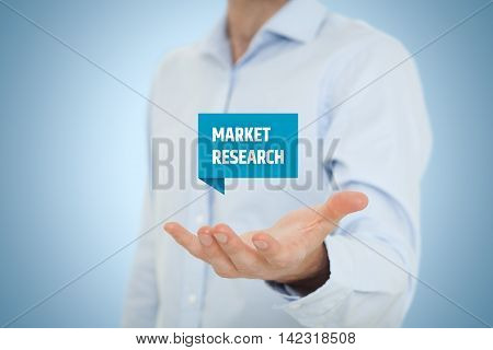 Market research concept. Marketing specialist offer service of marketing research company.