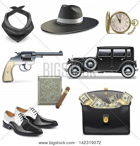 Vector Gangster Icons isolated on white background