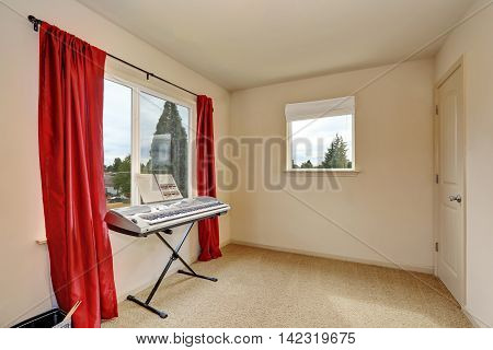 Beige Room Interior With Synthesizer And Red Curtains