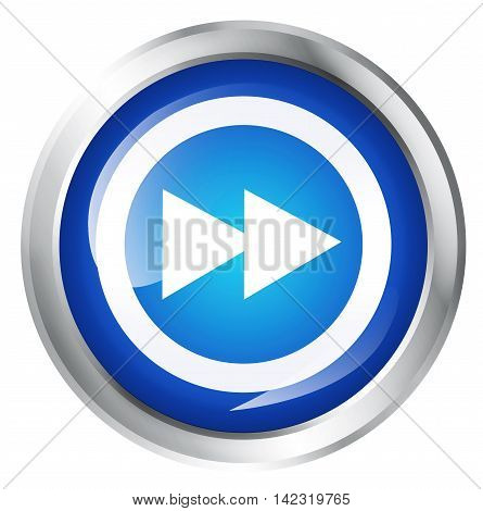 Glossy icon or button with fast forward symbol. 3D illustration