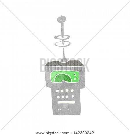 freehand retro cartoon futuristic scanner