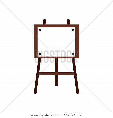 Wooden easel icon in flat style on a white background