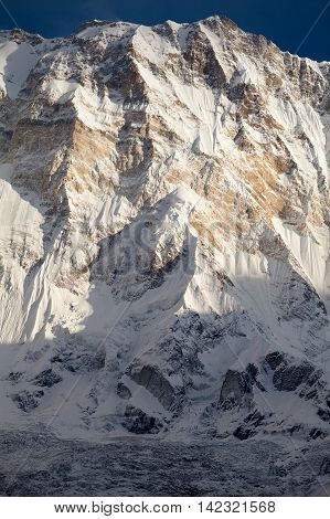South face of Annapurna I from Annapurna Base Camp in morning light Annapurna Sanctuary Kaski District Nepal.
