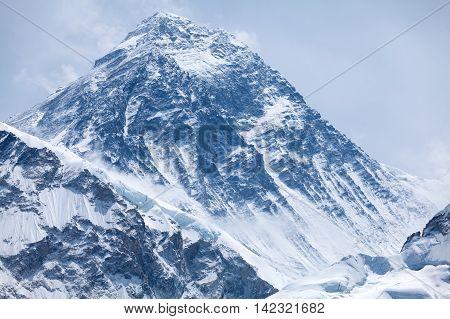 Evening view of summit of mt. Everest from Kala Patthar Solu Khumbu Nepal.