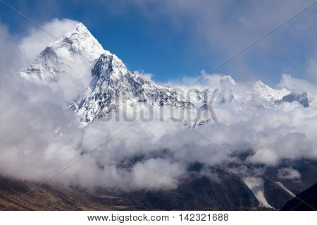 View of mt. Ama Dablam from route to Cho La Pass Three Passes Trek Solu Khumbu Nepal.