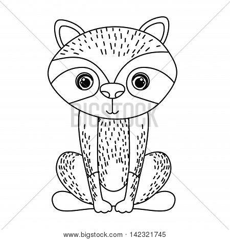 raccoon cute wildlife icon vector isolated graphic