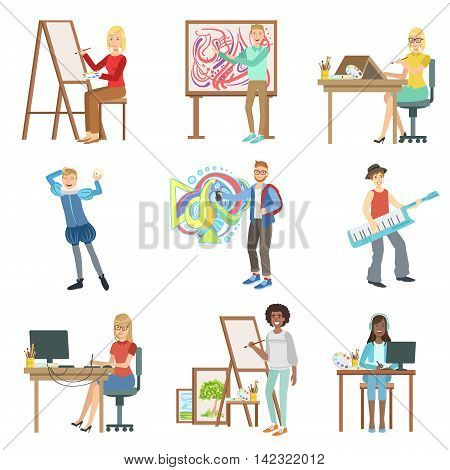 Different Artistic Professions Set Of Flat Simplified Childish Style Cute Vector Illustrations Isolated On White Background
