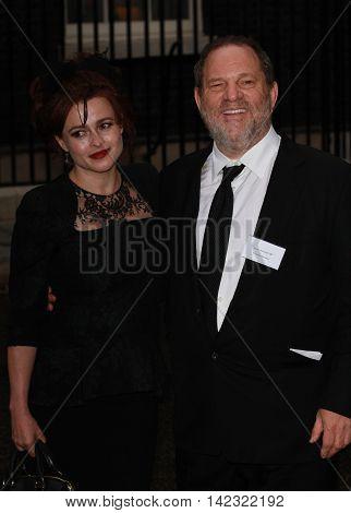 LONDON, UK, JUN 30, 2014: Helena Bonham Carter and Harvey Weinstein attend the Best of Britain's Creative Industries reception at 10 Downing street