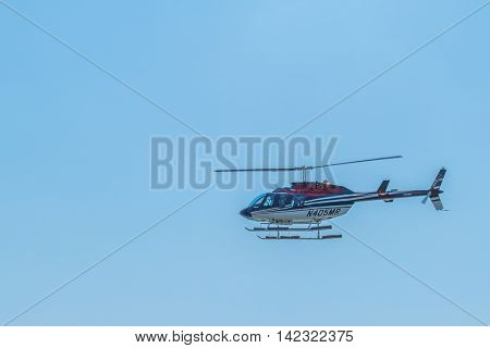 NEW YORK CITY, USA - JUNE 24, 2016: Helicopter  landing on Downtown Manhattan Heliport