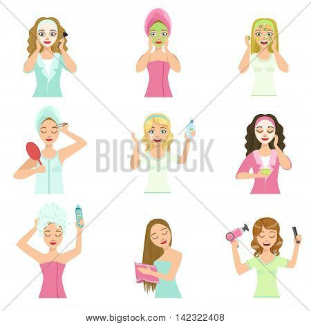 Women Doing Home Hair And Skin Treatment Procedures Set Of Isolated Portraits In Simple Cute Vector Design Style On White Background