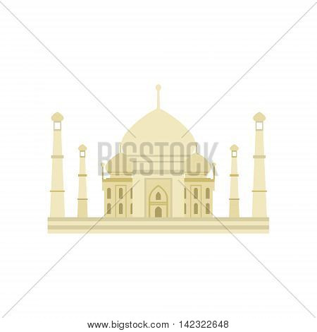 Taj Mahal Building In India Country Cultural Symbol Illustration. Simplified Cartoon Style Drawing Isolated On White Background